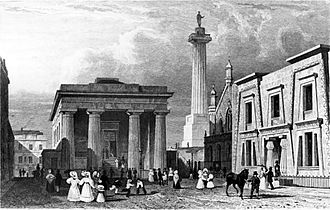 Devonport, Plymouth - Engraving circa 1825 of John Foulston's Town Hall, Column and Egyptian Revival Library