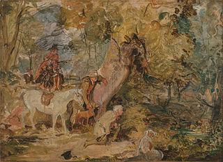 ?A Sketch for `Foresters Stalking Deer'