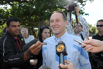New Zealand National Party leader John Key and...