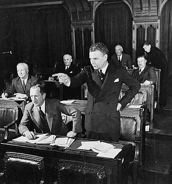 English: John G. Diefenbaker, M.P., speaking i...