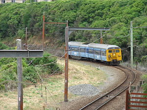 Johnsonville Branch - A southbound DM class EMU just south of Raroa Railway Station on the Johnsonville Line in 2007. The last of the DM class EMUs was withdrawn from the line in February 2012.