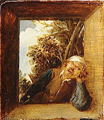 Smoker in the Opening of a Rustic Window