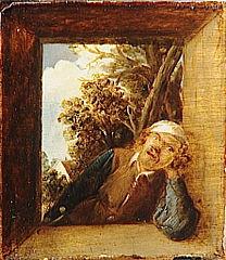 Fumeur dans l'embrasure d'une fenêtre rustique, sur fond de paysage