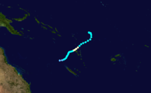 Track map of Tropical Cyclone Joti. The storm formed northeast of Vanuatu and curved southwest, going just north of Vanuatu before dissipating northwest of New Caledonia.