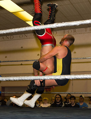Piledriver (professional wrestling) - Professional wrestler Jake OReilly performs a piledriver on his opponent.