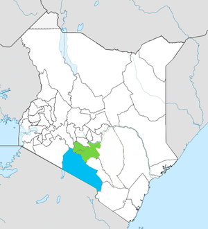 Kitengela - Kajiado County (blue) within Nairobi Metro (green)
