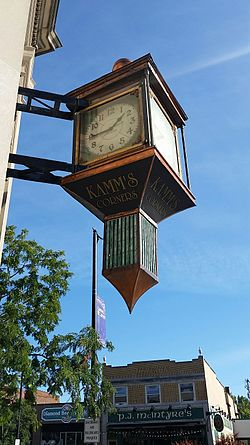 Kamm's Corners clock, at the intersection of Lorain Avenue (SR 10) and Rocky River Drive (SR 237)