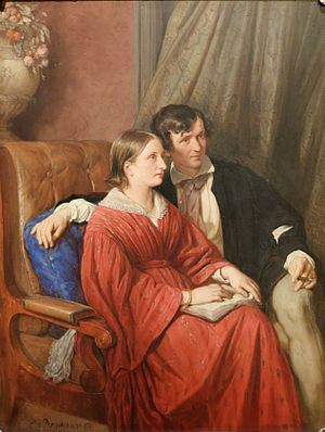 Auguste von Littrow - Auguste von Littrow with her husband Karl Ludwig; painting by Josef Danhauser.