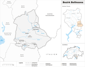 Bellinzona District - Image: Karte Bezirk Bellinzona 2017