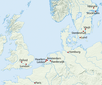 Cities where he worked; those outside Sweden were only visited during 1735-1738. Karte Linne.png