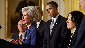 HealthCare.gov - Kathleen Sebelius formally accepts her nomination as Secretary with President Obama by her side.