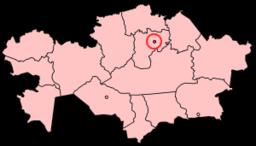 Kazakstans provinser med Astanas økonomiske zone markeret