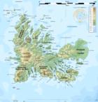 Carte des îles Kerguelen.