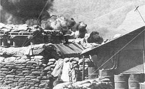 Battle of Khe Sanh - Image: Khe Sanh Bunkers and burning Fuel Dump