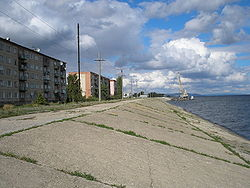 A quay on the Volga River in Khvalynsk