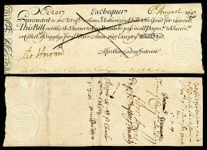 History of the English fiscal system - Kingdom of England Exchequer note-5 Pounds (1697), issued during the reign of William III