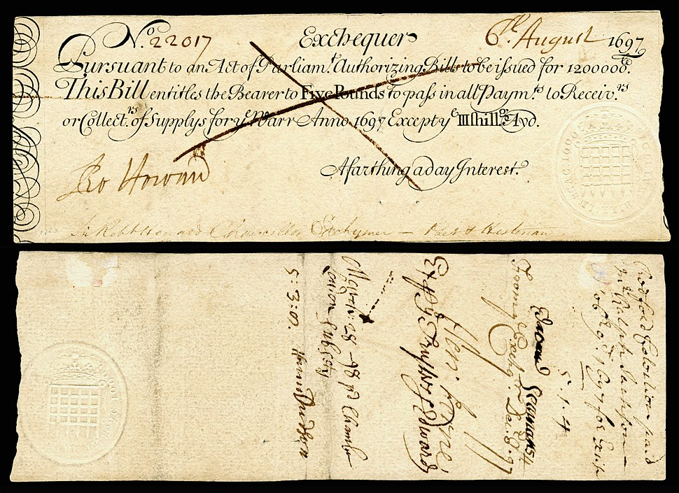 Kingdom of England Exchequer note-5 Pounds (1697)