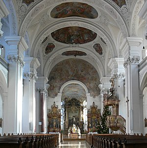 Franz Beer - Interior of abbey church at Weissenau
