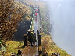 The Amazing Race 1 - Knife's Edge Bridge in the midst of Victoria Falls' inverted rain was the first ever location visited in the entire series of The Amazing Race