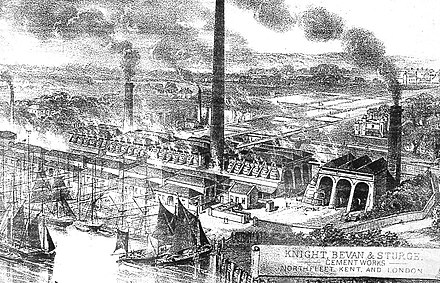 The Knight, Bevan and Sturge Cement works in the second half of the 19th century. Knight, Bevan and Sturge cement works, Northfleet.jpg