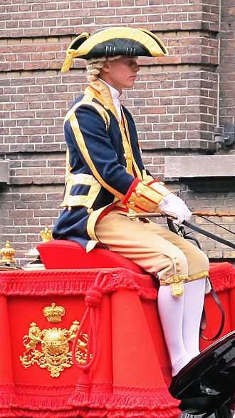 Breeches -  Breeches are still worn as livery for special occasions in several European courts. Here, a coachman in the Netherlands wears them during Prinsjesdag, 2013.