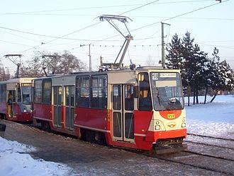 Silesian Interurbans - Konstal 105Na tram after rebuilding in Zakład Usług Remontowych (Tram Repair Facility)
