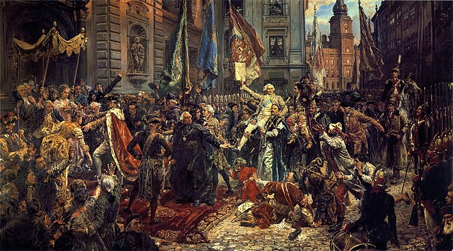 Constitution of May 3, 1791 (painting by Jan Matejko, 1891). Polish King Stanislaw August (left, in regal ermine-trimmed cloak), enters St. John's Cathedral, where Sejm deputies will swear to uphold the new Constitution; in background, Warsaw's Royal Castle, where the Constitution has just been adopted. Konstytucja 3 Maja.jpg