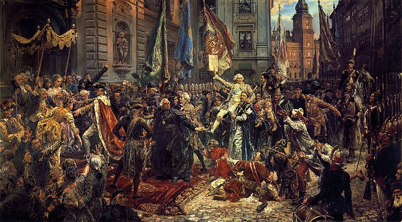Constitution of 3 May 1791, by Matejko. Foreground: King Stanislaw August (left) enters St John's Cathedral, in Warsaw, where deputies will swear to uphold the constitution. Background: the Royal Castle, where the Constitution has just been adopted. Konstytucja 3 Maja.jpg