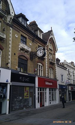 Shopping parade in North End, Croydon Kookai Clock Croydon.jpg