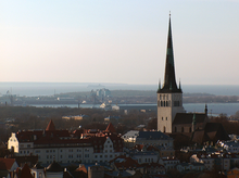 St. Olaf's church, Tallinn spire look over city and the Gulf of Finlanf