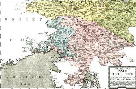 Obseg Vojvodine Kranjske leta 1794