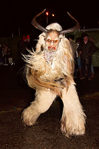 Krampus - A person dressed as Krampus at Morzger Pass, Salzburg (Austria)