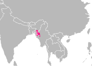 Kuki people - Approximate extension of the area traditionally inhabited by the Kuki people.
