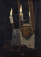 Lille interiør med brændende lys