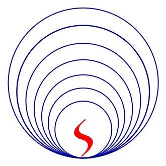 Rajneesh movement - Symbol of the Life Awakening Movement. Circa 1970.