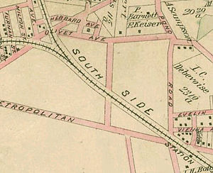 Fresh Pond, Queens - 1891 map. Freshwater ponds were located in the upper right quadrant of the picture, near the intersection of Fresh Pond Road and Mount Olivet Avenue (now Mount Olivet Crescent).