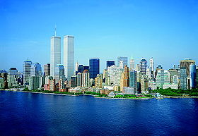 The skyline of Lower Manhattan, with the Twin Towers of the World Trade Center (1973 – 2001).