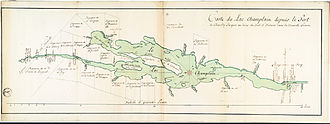 Lake Champlain - Map of Lac Champlain, from Fort de Chambly up to Fort St-Fréderic in Nouvelle France. Cadastral map showing concessions and seigneuries on the coasts of the lake according to 1739 surveying.