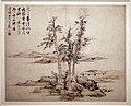 Lan Ying, paesaggi nello stile degli antichi maestri ni zan e cao zhibo, alberi su una penisola, dinastia ming, 1642.jpg