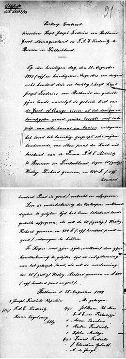 Koopcontract voor Lüderitzland in 1883 voor de kuststrook van Duits-Zuidwest-Afrika
