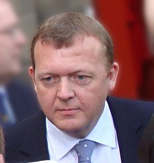 Lars Løkke Rasmussen - Rasmussen outside Amalienborg Palace immediately after his appointment as Prime Minister by Queen Margrethe.