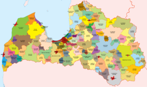 Administrative divisions of Latvia - Administrative divisions of Latvia in colors (as of 3. January 2011)
