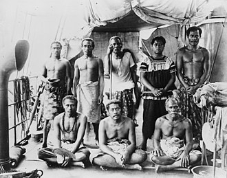 Lauaki Namulauulu Mamoe - Exiled group aboard the German warship with Lauati standing 3rd from left with an orator's staff, 1909.