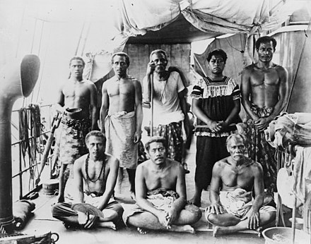 Exiled orator Lauaki Namulau'ulu Mamoe (standing 3rd from left with orator's staff) and other chiefs aboard German warship taking them to exile in Saipan, 1909 Lauaki Namulau'ulu Mamoe (standing 3rd from left with orator's staff) and other chiefs aboard German warship taking them to exile in Saipan, 2909.jpg