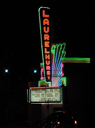 Laurelhurst Theater - The theater's colorful neon sign and marquee, in 2002