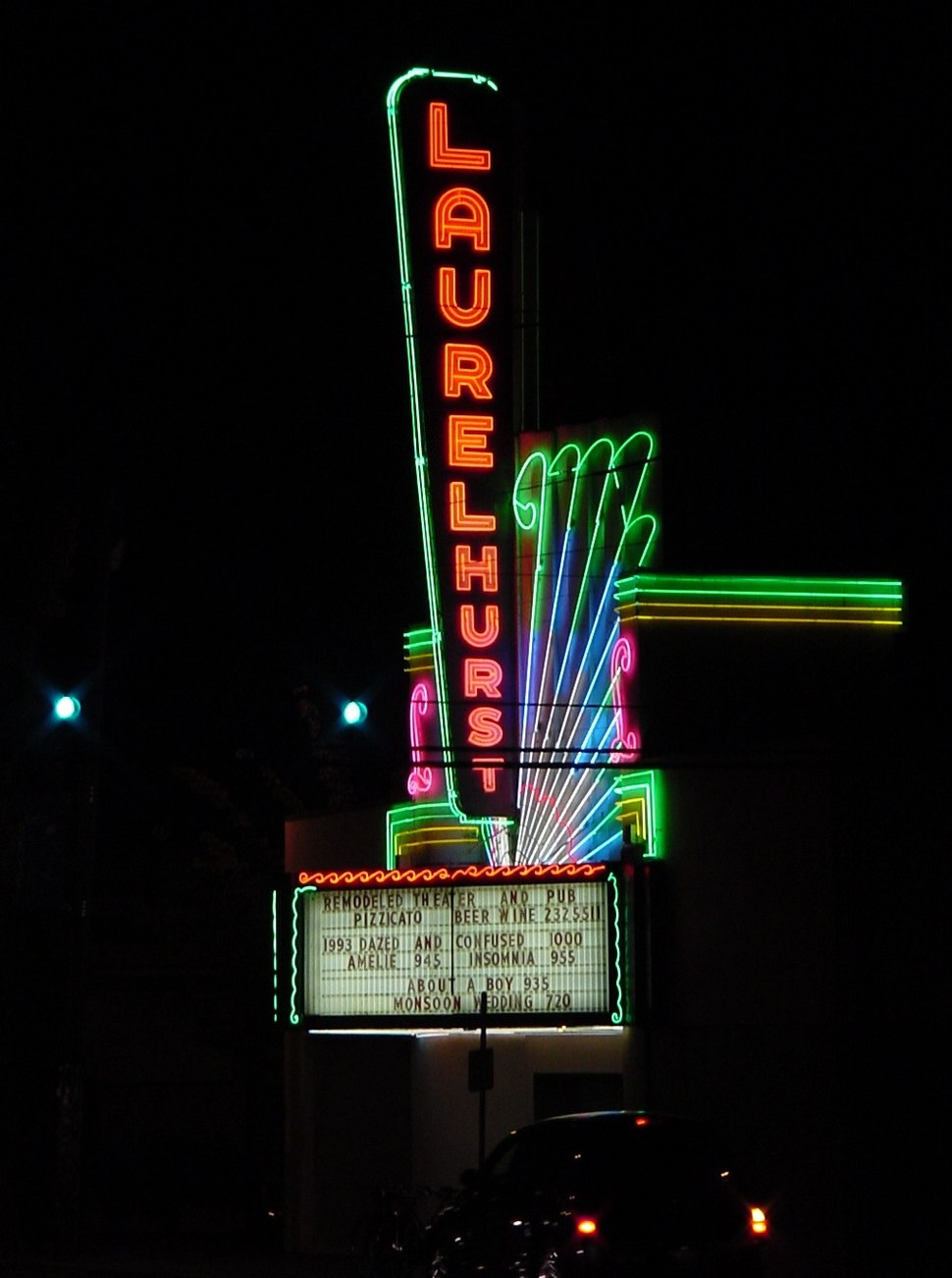 Laurelhurst Theater neon sign - side view at night