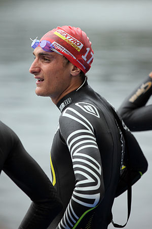 Laurent Vidal - Vidal waiting for the start at the World Championship Series triathlon in Kitzbühel, 2011.