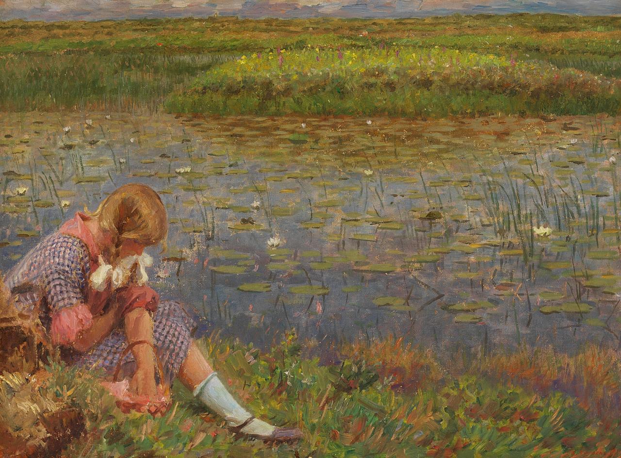Laurits Tuxen - Pige ved en dam - 1917.png