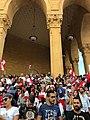 Lebanese citizens show in groups outside Mohammad Al-Amin Mosque during 2019 Lebanese revolution.jpg