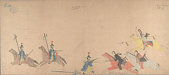 Cheyenne - Ledger drawing by Hubble Big Horse showing a battle between Cheyenne warriors and Mexican lancers.